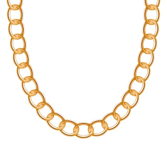 청키 체인 황금 금속 목걸이 또는 팔찌. 개인 패션 액세서리. 브러쉬 포함.