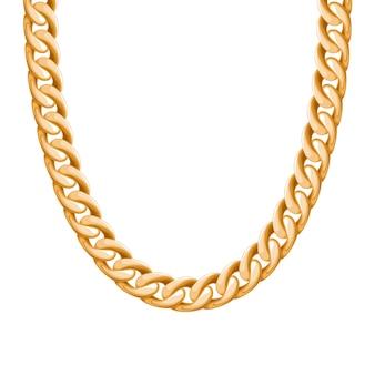 Массивная цепочка золотистого металлического ожерелья или браслета. личный модный аксессуар. кисть в комплекте.
