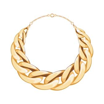 Массивная цепочка золотистого металлического ожерелья или браслета. личный модный аксессуар. иллюстрация.