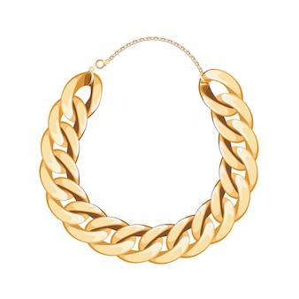 分厚いチェーンゴールデンメタリックネックレスまたはブレスレット。個人的なファッションアクセサリー。