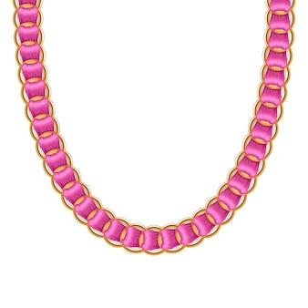 ピンクのリボンが付いた分厚いチェーンゴールデンメタリックネックレスまたはブレスレット。個人的なファッションアクセサリー。