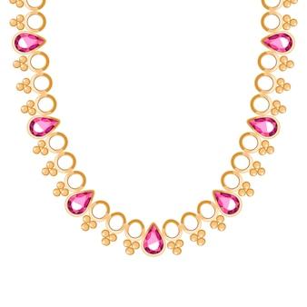 ルビーのジェムストーンネックレスまたはブレスレットが付いた分厚いゴールデンチェーン。個人的なファッションアクセサリーエスニックインドスタイル。