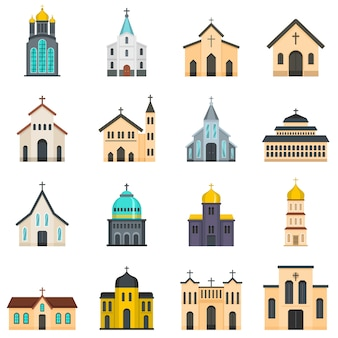 Church building icons set
