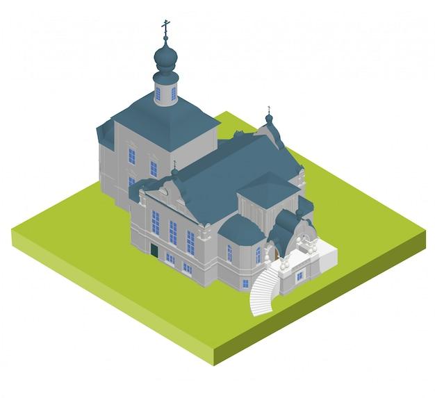 Church building isometric 3d icon.
