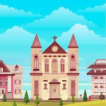 Church building landscape illustration