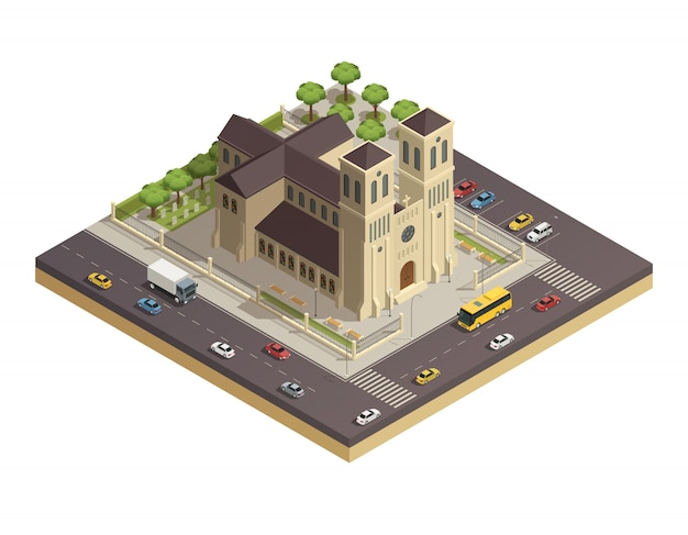 Church cathedral road isometric composition
