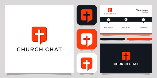Church chat logo icon symbol template logo and business card