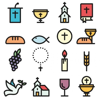 Church and christian community flat outline icons set