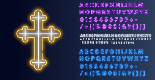 教会はネオンサインを渡る。はりつけの熱烈なシンボル。ネオンアイコンクロス教会。図