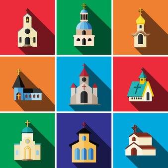 Церковь плоский значок набор изолированных иллюстрация вектор знак символ
