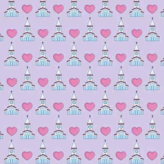 Church and hearts background