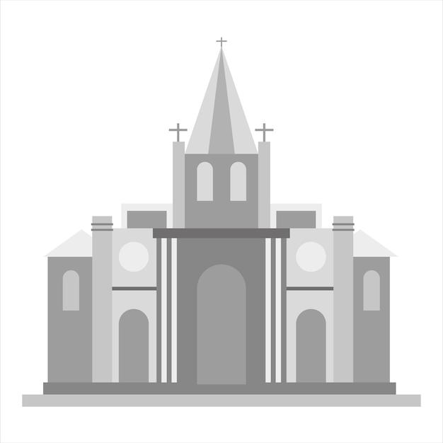교회 아이콘입니다. 웹에 대 한 교회 벡터 아이콘의 회색 단색 그림