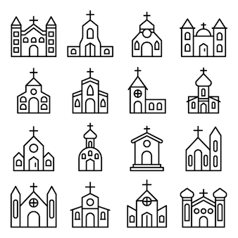 Church icons set, outline style