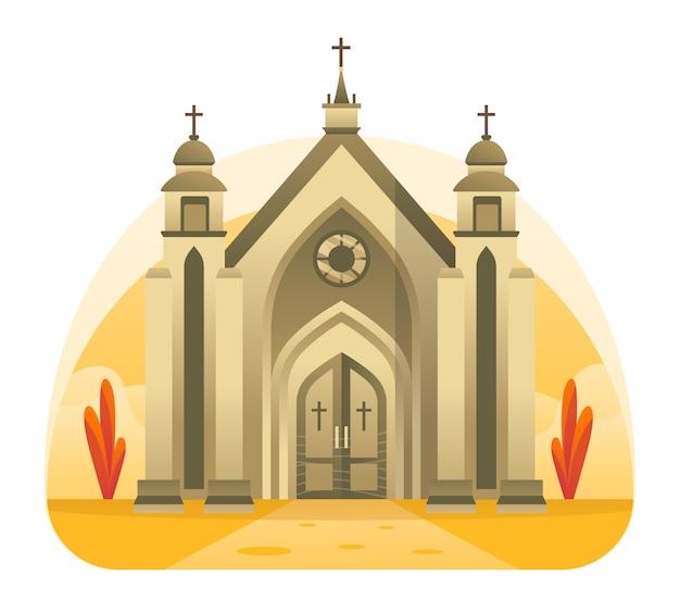 Иллюстрация церкви, место для христианской хвалы иисуса христа. эту иллюстрацию можно использовать для веб-сайта, целевой страницы, веб-сайта, приложения и баннера.