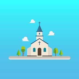 フラットスタイルのデザインの教会
