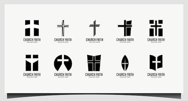 Логотип церкви. христианские или католические символы. крест символ святого духа