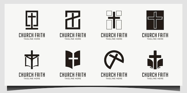 교회 로고. 기독교 또는 가톨릭 상징. 성령의 십자가 상징