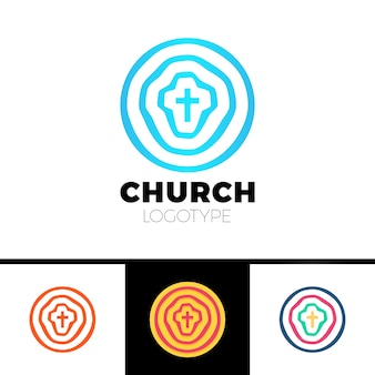 Church logo. christian symbols. circles, target and jesus cross.
