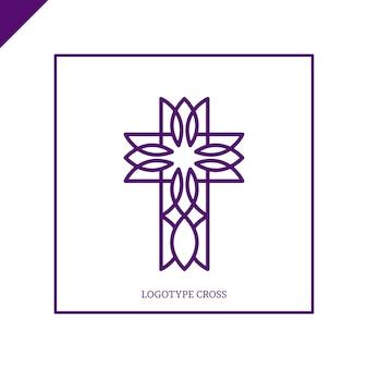 교회 로고. 기독교 상징. 예수님은 십자가를 지으 셨습니다.