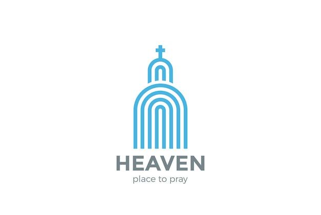 교회 로고 종교 로고. 선형 스타일