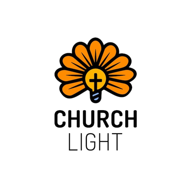 十字架、電球、花の教会のロゴ。