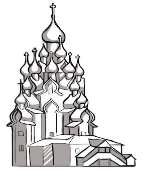 교회 오래 된 러시아 정교회입니다. 벡터 스케치 흑백 스케치입니다.