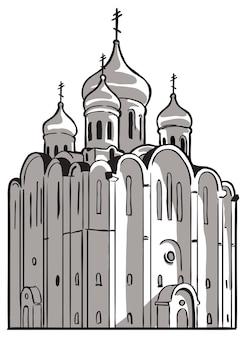 Церковь старая русская православная церковь. векторный рисунок черно-белый рисунок.