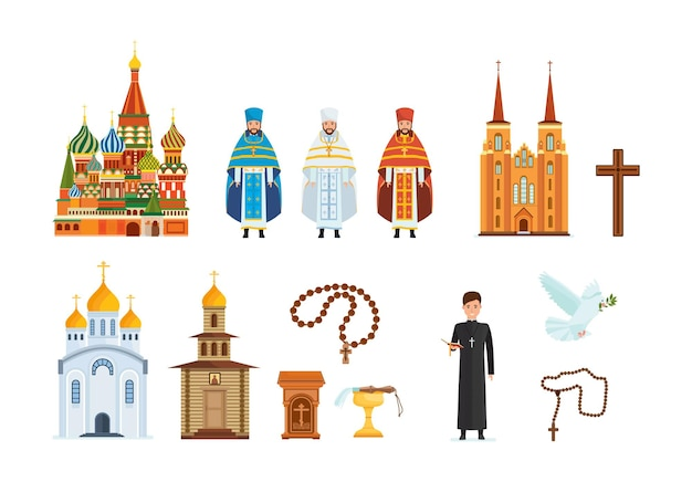 Church religious set. spiritually faith cross, pastor, beads, cathedral, praying, god believe, white pigeon. vintage and modern monastery abbey with holy clergyman in traditional outfit flat vector