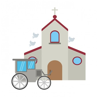 Church and wedding carriage