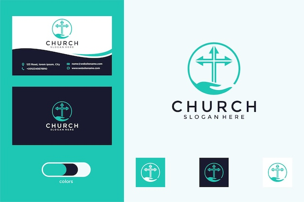 Church with hand and cross logo design and business card