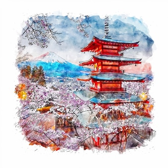 Chureito pagoda japan watercolor sketch hand drawn illustration