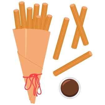 Churros in packet with sauce cartoon illustration isolated on a white background.