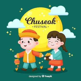 Chuseok background in flat style