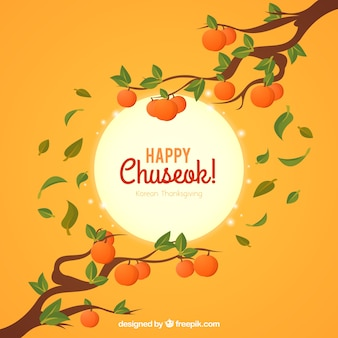Chuseok background with branches and fruits