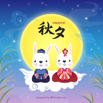 Chuseok background with cute rabbits