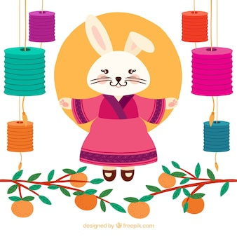Chuseok background with rabbit woman