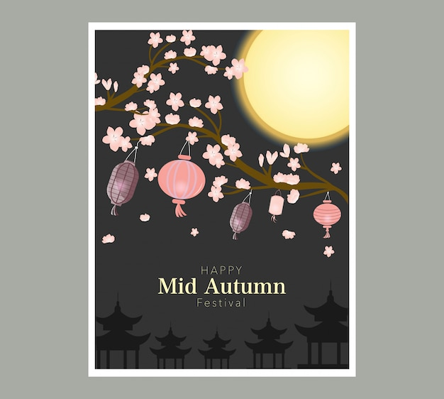 Chuseok banner.persimmon tree on full moon view.