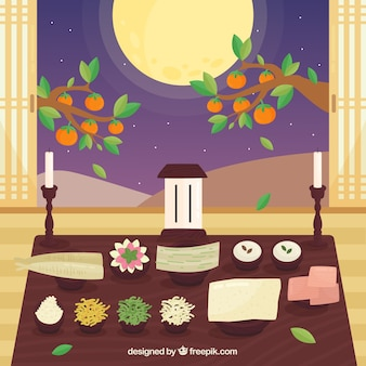 Chuseok composition with flat design