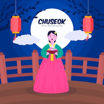 Chuseok concept in flat design