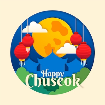 Chuseok concept in paper style