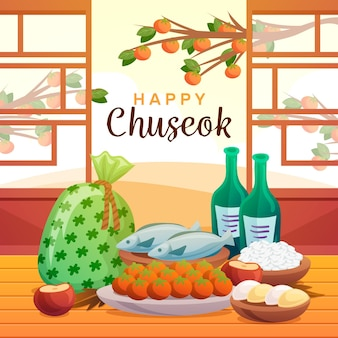 Chuseok festival drawing design