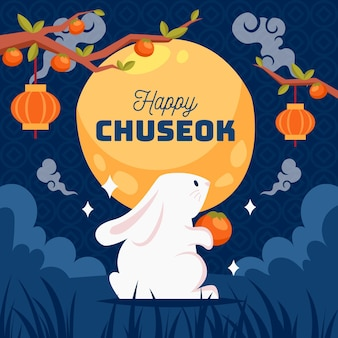 Chuseok festival illustrated concept