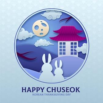 Chuseok festival in paper style concept
