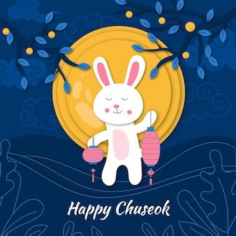 Chuseok festival in paper style design