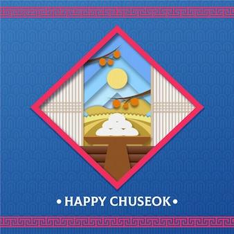 Chuseok festival in paper style