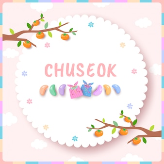 Chuseok greeting card pink pastel