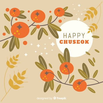 Chuseok greeting card with branches