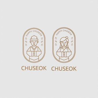 Chuseok greeting two korean people with line art concept
