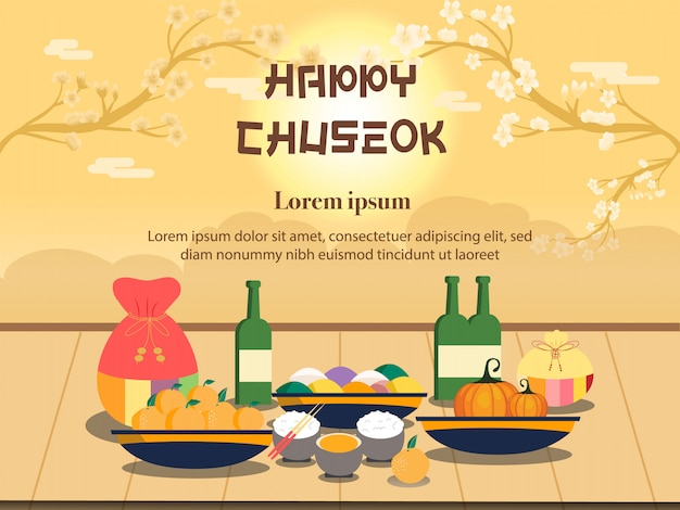 Chuseok illustration. persimmon tree on full moon view
