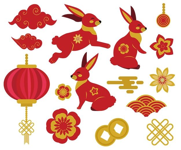 추석, 토끼, 구름, 등불이 있는 중국 스타일 디자인 요소의 중추절. 토끼의 해, 중국 별자리 클립 아트. 벡터 일러스트 레이 션.